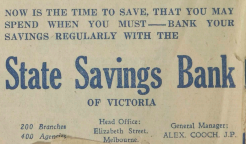 State Savings Bank of Victoria 1930 Ad