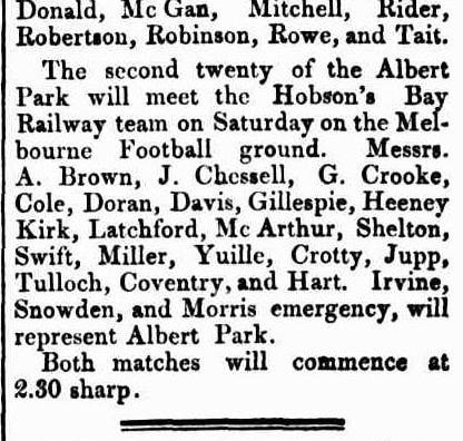 1869 Albert Park Football club, Hobson's Bay team