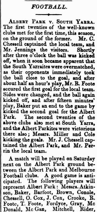 Albert Park Football Club 1869