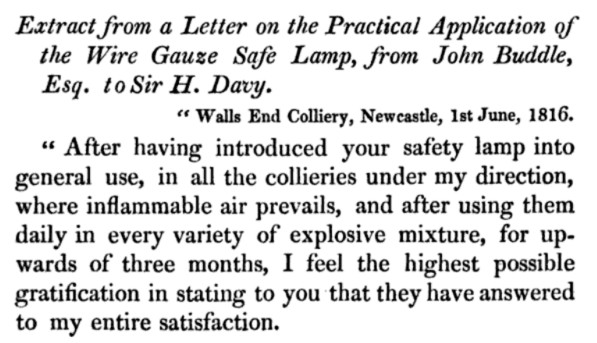 John Buddle to Humphrey Davy