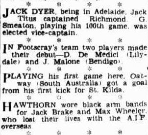 Hawthorn mourn player killed in WW2 1941