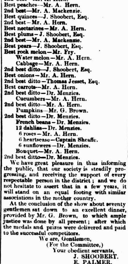 ILLAWARRA Agricultural & Horticultural Society 1848