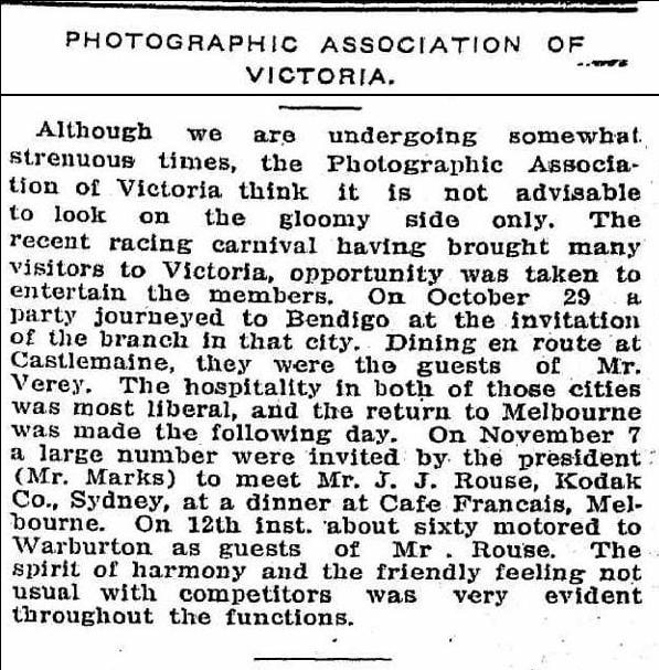 Photographic Association of Victoria (Mr. Marks President) 1917