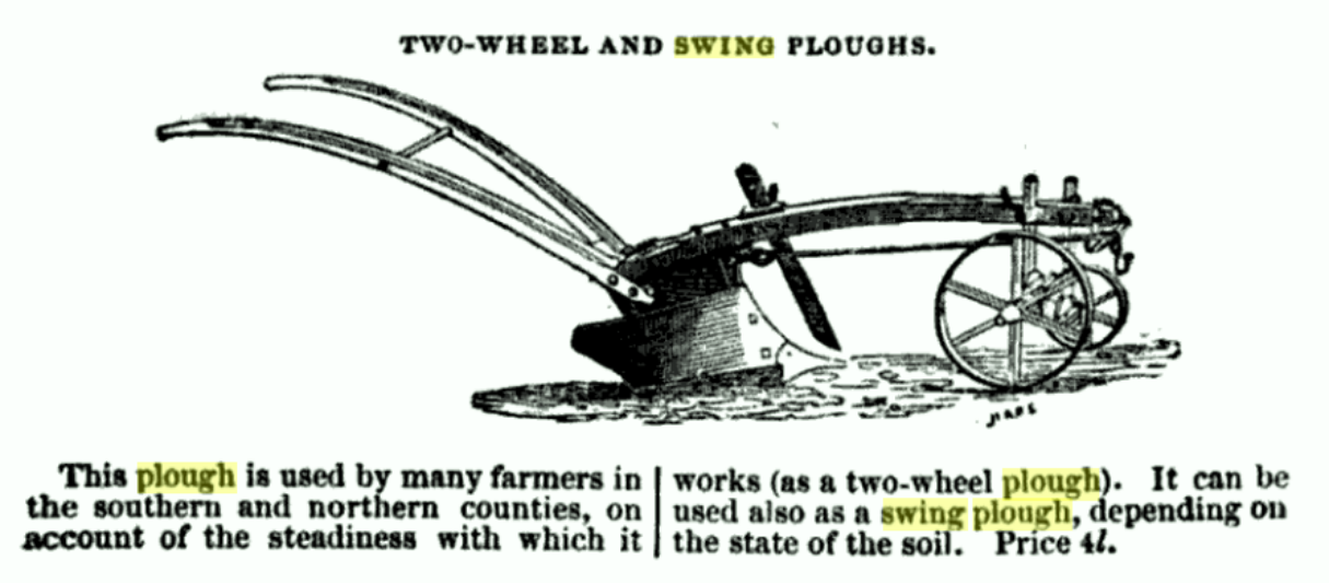 Two wheeled swing plough 1800's