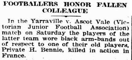 Private H.Bennie. Footballers honour players killed in WW1 1916