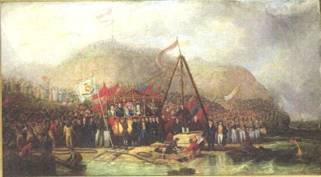 laying of the foundation stone of Seaham Harbour, by Robert Mackreth (1766 - 1860)