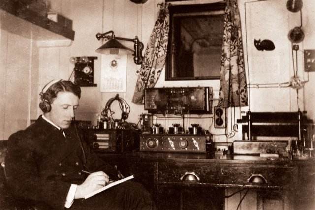 Marconi room on the 'Olympic', Titanic's sister ship