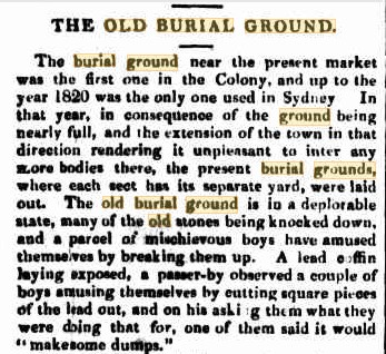 OLD SYDNEY BURIAL GROUND