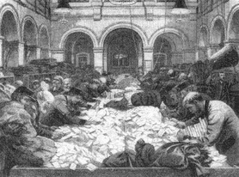 Postal Hall in the GPO, Melbourne. Taken on Valentine's Day 1871